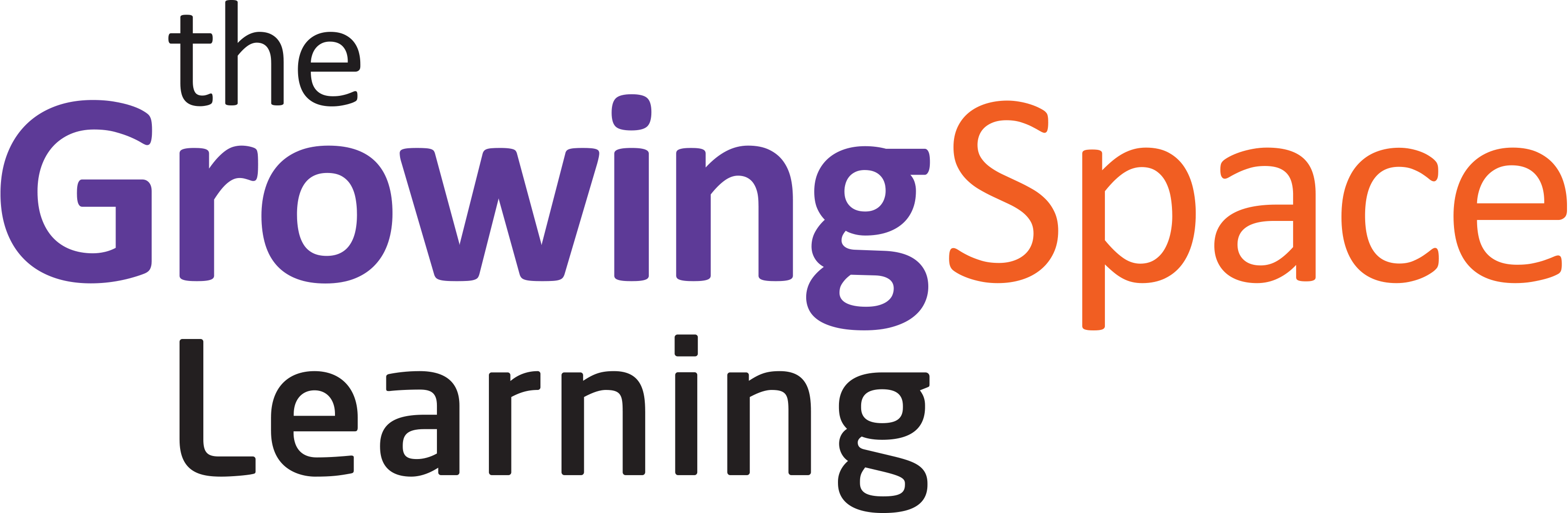 "Image of Growing Space Learning logo. It contains 4 images that form a square in purple and orange. They are an image of two people shaking hands, a figure in a wheelchair, a figure of a person's head with an outline of the brain and an image of a light bulb. Next to the images is the words ""The Growing Space Learning."
